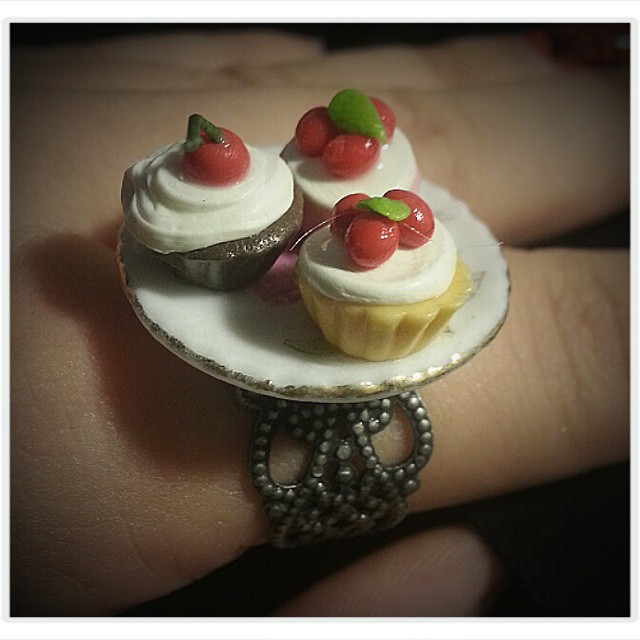 Cupcake ring! Available soon on etsy ...EvolDesignShop #rings #jewellery #design #etsy #evoldesign #atlanta #cupcakes #sweets